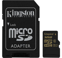 Карта памяти Kingston Technology MicroSD HC 32 ГБ class 10 (с адаптером)