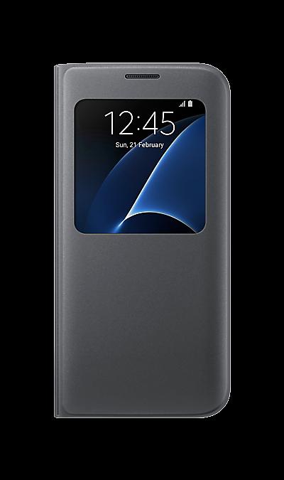 Чехол-книжка Samsung для Galaxy S7 Edge, полиуретан, черный